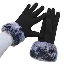 Gloves Woman Cuff Hair Black Ladies Teddy Plush Lined Winter Quality