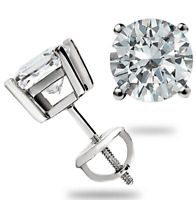 14k White Gold Stud Earrings Square / Round Cut 2 Ct With Screw Back Pierced New