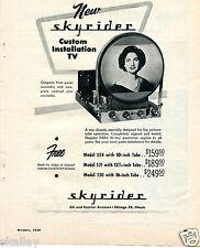 1949 Print Ad of Skyrider Custom Installation TV Chassis