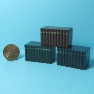Dollhouse Miniature Wood Faux Book Stacks Red Green and Navy 3 Piece Set IM66009