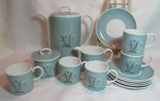 Susie Cooper England Bone China Coffee Pot Sugar Bowl Creamer 6 Cups 6 Saucers