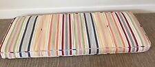 "Pottery Barn Bench Cushion Outdoor Indoor Striped White Yellow Red 45"" X 17.5"""