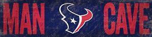 "Houston Texans MAN CAVE Football Wood Sign - NEW 24"" x 6""  Decoration Gift"