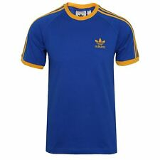 ADIDAS T SHIRT MENS BLUE AND GOLD 3 STRIPES CREW NECK RINGER TEE