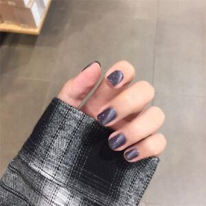 24pcs Cat Eye False Nails Short Artificial Nail Art Tips Fingernail DIY NNL588