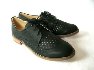 """*Pinup Couture 1"""" Black Hepburn Retro Star Cutout Swing Oxford Wingtip Shoes 8"""