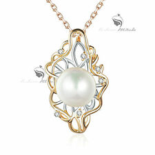18K YELLOW WHITE GOLD GF MADE WITH SWAROVSKI CRYSTAL PENDANT PEARL NECKLACE