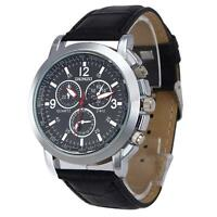 Herren Quarz Uhr Edelstahl Leder Militär Sport Analog Armbanduhr #F