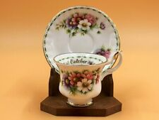 More details for royal albert flower of the month cosmos, october miniature cup & saucer. duo