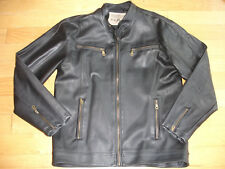 Men's Large Black Full Zipper Jacket Coat L Military Motorcycle Surplus Apparel