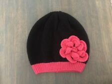 Nwt babyGap Park Avenue Black Pink Flower Sweater Crochet Hat Size S M