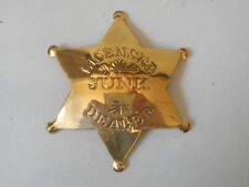 Licensed Junk Dealer Western Badge Solid Brass