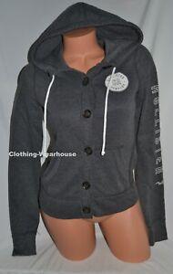 Juniors Hollister Girls Gray Logo button up Hoodie Jacket Sweatshirt XS,S,L NEW