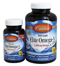 Carlson Labs Elite Omega-3 Gems Fish Oil Professional Strength Lemon 90+30 Bonus