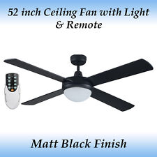 Genesis 52 inch 4 Blade Matt Black Ceiling fan with Light and Remote