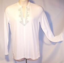 NEW $50Tag CHAPS by Ralph Lauren LARGE White Top ENHANCED Iridescent STUDS Vneck