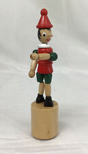 Vintage Push Button Dancing Puppet Wood Toy Pinocchio