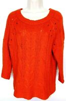 Ann Taylor Loft Women's Boat Neck Sweater Size Medium Cable Knit Orange Solid
