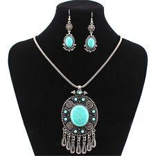 Women's Blue Turquoise Tibet silver Chunky Tassel Oval Pendant Earrings Necklace