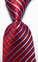 New Classic Checks Red Blue White JACQUARD WOVEN 100% Silk Men's Tie Necktie