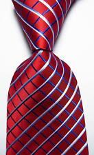 New Classic Checks Red Blue White JACQUARD WOVEN 100% Silk Men's Tie Necktie