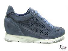 Zapatos de Mujer IMAC Ante Perforado Verano Cuña Interior Casual Zapatillas Azul