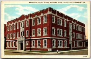 "Alexandria, Louisiana Postcard ""METHODIST SUNDAY SCHOOL BUILDING"" c1930s Unused"