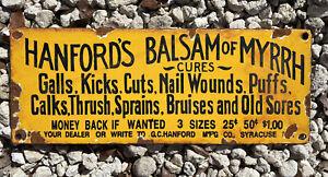 Vintage Hanford Balsam Myrrh Porcelain Metal Medicine Gas Oil Pharmacy Dr. Sign
