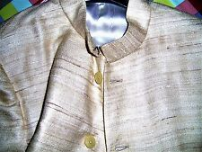 Giacca Vintage India Anni '80 in seta e lino uomo donna cucita a mano taglia 50