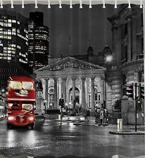 London UK Red Bus Fabric SHOWER CURTAIN Double Decker City Black White Decor