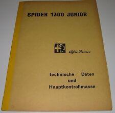 Werkstatthandbuch Alfa Romeo Spider 1300 Junior Prüfwerte Daten Stand Juli 1968!