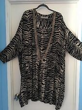 """""""New Options Plus"""" Kimono Jacket Black and Taupe dress up or down 2X Must See!!"""