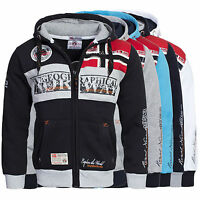 Felpa GEOGRAPHICAL NORWAY Uomo Men Fleece Full Zip Anapurna cappuccio Flyer