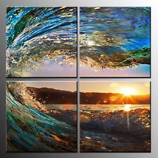 FRAMED Wall Art Canvas Oil Painting Sea Wave Canvas Art Prints Poster-4pcs