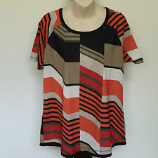 'MARCO POLO' SIZE 'M' ORANGE AND TAUPE PRINT SHORT SLEEVE TOP, EASY CARE