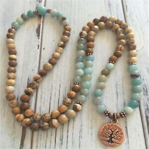 6mm Amazonite Picture Stone Copper Tree Pendant Necklace Wrist Lucky Bless Cuff