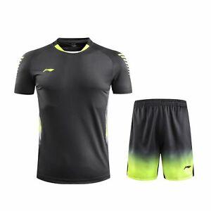 World Championships Li Ning Men's Tops badminton tennis clothes T-shirt +shorts