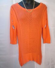 Ashley Stewart Tunic Top 18 20  Orange Knit Asymmetrical Hem Cutout Arms