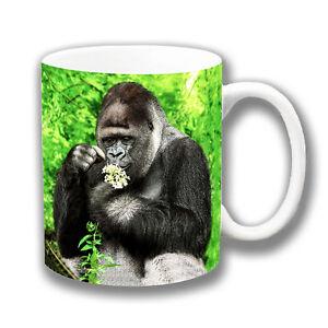 Silverback Gorilla Coffee Mug 10oz Ceramic Photo Print Forest Setting Flowers