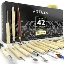 Arteza Pottery & Polymer Clay Tools, 42-Piece Sculpting Set, Steel Tip Tools