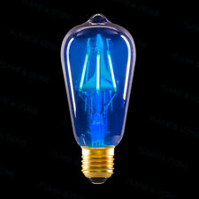 LED EDISON LIGHT BULB BLUE GLASS E26 E27 LAMP RETRO VINTAGE STEAMPUNK 3.3W 120V