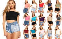 Womens Ladies Bardot Off the Shoulder Cropped Tops Bandeau Sleeveless Vest Shirt