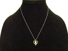 "10K WHITE GOLD 18"" CHAIN & DOUBLE HEART PENDANT, 2.0 GRAMS, TINY DIAMOND ACCENT"