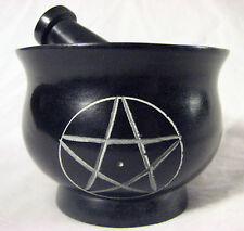 Pentacle Pentagram Soapstone Mortar and Pestle Herb Spice Culinary Grinder Wicca