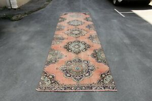 TRIBAL RUNNER WITH TRIBAL MEDALLION STYLE ,DISTRESSED LOW PILE RUG