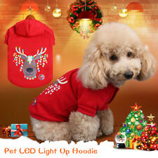 Pet Christmas Hoodie Dog Cat LED Light Up Sweater Xmas Costumes Winter Clothes