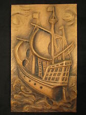 """Velero-Relief, """"windjammer"""", fundadores marrón decapada aprox. 53 x 32 x 3 cm"""