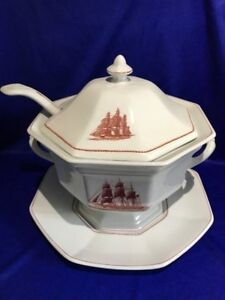 **ULTRA RARE SET** Wedgwood 'Flying Cloud' Large Soup Tureen, Ladle & Stand
