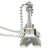 EIFFEL TOWER - Silver Pendant Charm Necklace Heart Love Paris Souvenir
