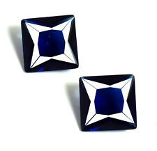 Blue Sapphire Gemstone Princess Cut Matching Pair 5.30 Ct Natural AGSL Certified
